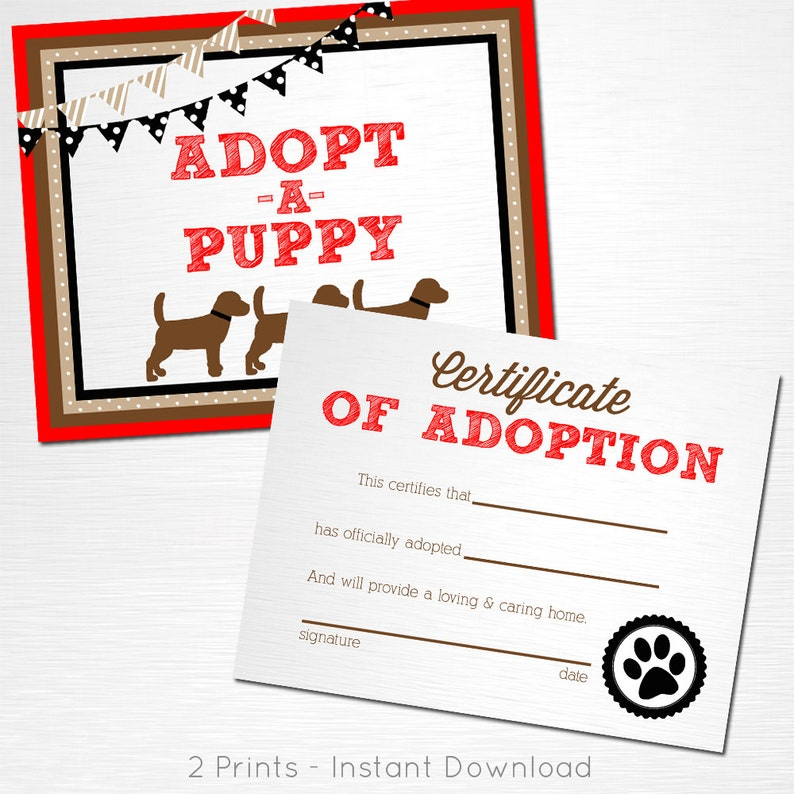 Adopt a Puppy and Certificate of Adoption Red Brown Black Lab Dog Birthday  Party YOU PRINT