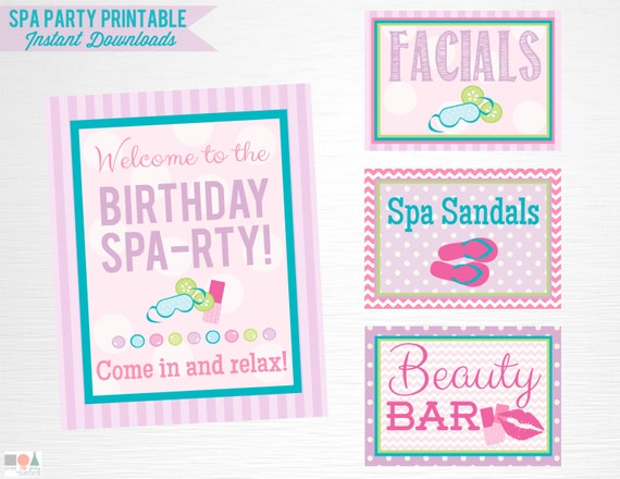 Spa Birthday Party Printable Signs Door Sign Facials Spa | Etsy