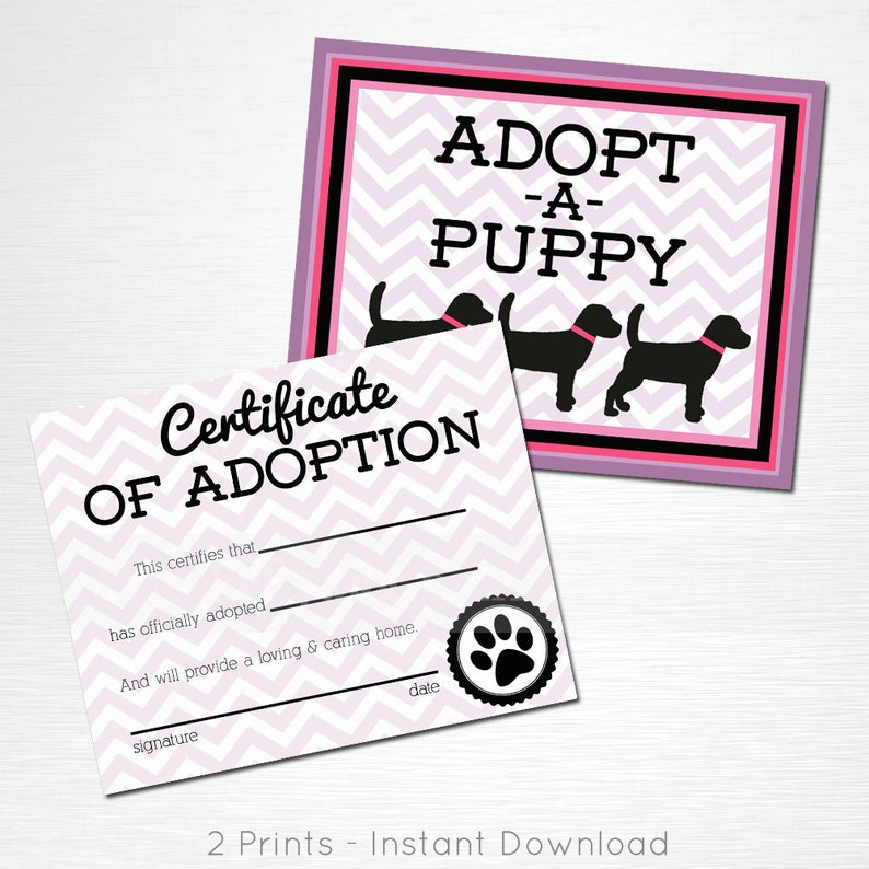 Adopt a Puppy and Certificate of Adoption Pink Purple Black Lab Dog  Birthday Party YOU PRINT