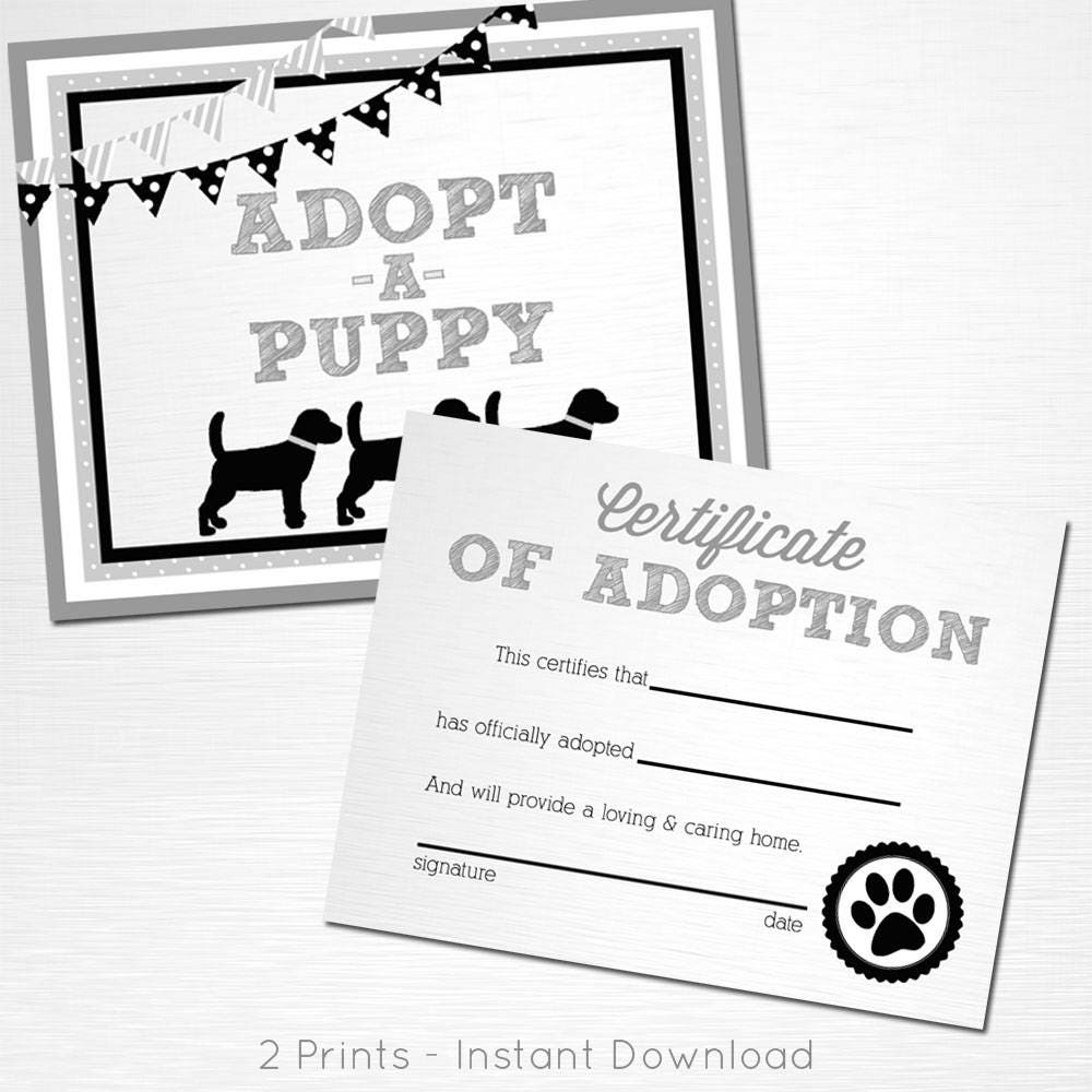 Adopt A Puppy And Certificate Of Adoption Gray White Black Lab Etsy