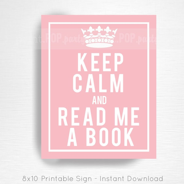 Pink Storybook Baby Shower Printable Door Sign YOU Print Keep Calm and Read Me a Book