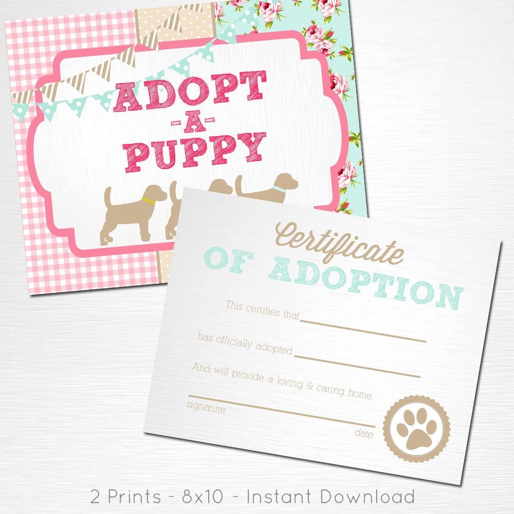 Adopt A Puppy And Certificate Of Adoption Blue Pink Brown Lab