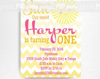 Pink You Are My Sunshine Birthday Party Printable Invitation YOU Print