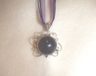 CLEARANCE  - Purple Amethyst pendant necklace set in silver (P449)