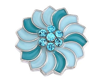 One Two-Tone Turquoise Blue Enamel & Rhinestone Pinwheel Snap Button/Charm/Chunk (for Ginger Snaps or Noosa-type Jewelry)