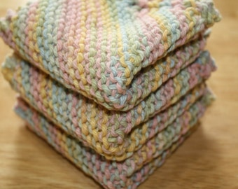Pastel Knit Dish Cloth Set of 3, Knit Wash Cloths, Gift For Her