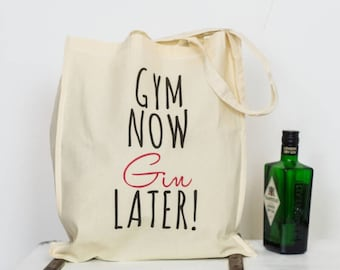 Gym now, Gin later Tote Bag - gym bag - gin lover - gin gifts - gym gifts -  shopper bag 7a3045f121