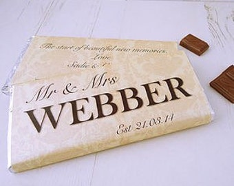 Wedding Chocolate Bar - wedding day gift - bride and groom gift - personalised chocolate - gift for newlyweds