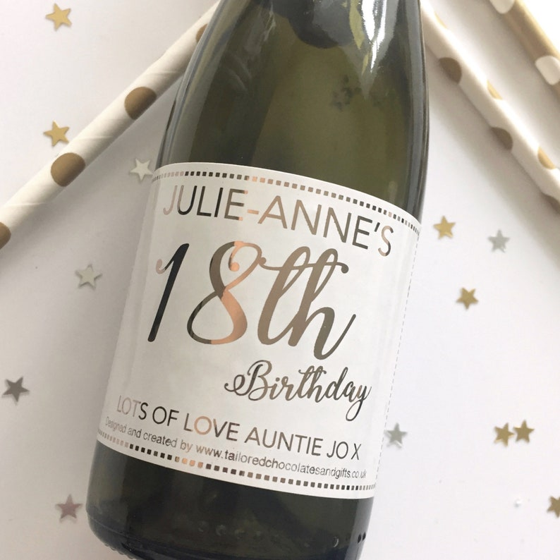 mini 18th champagne label - 18th birthday gifts - top 18th gift - 18th prosecco ... mini 18th champagne label - 18th birthday gifts - top 18th gift - 18th ...