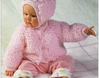 15ddaf111e84 Vintage Hayfield Loopy Baby Jacket   Bonnet DK Knitting Pattern PDF