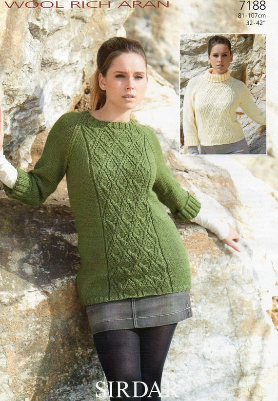 Sirdar Wool Rich Aran Tunic Sweater Knitting Pattern Pdf