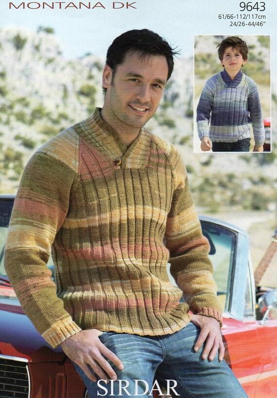 Sirdar Montana Dk Mens Boys Jumper Knitting Pattern Pdf Etsy