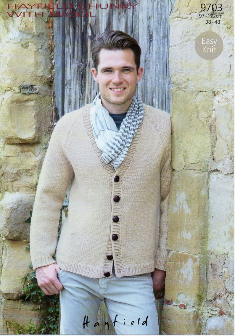 d434abfe589a Hayfield Chunky With Wool Easy Knit Mens Cardigan Knitting