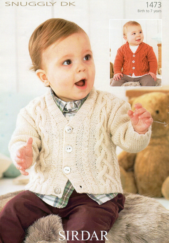 e7e4bde21 Sirdar Baby Boys V-Neck   Shawl Collar Cardigan DK Knitting