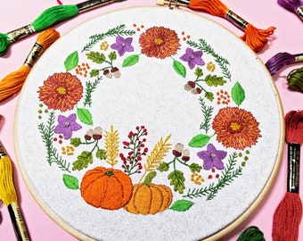 Autumn Embroidery Kit, Floral Embroidery, Wreath Embroidery, Flowers Embroidery Set, Pumpkin Embroidery, Intermediate Embroidery, Craft Kit