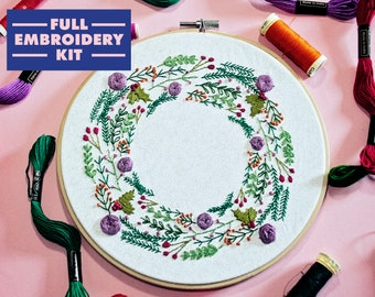 Christmas Embroidery Kit, Hand Embroidery For Beginners, Wreath Embroidery Kit, Witch Embroidery, DIY Craft Kit, Embroidery Kit With Pattern