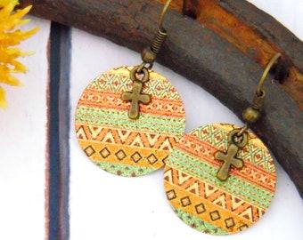 Round Dangle Cross Earrings, Faith Drop Earrings, Bronze Multicolor Boho Christian Jewelry