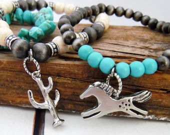 Navajo Style Pearl Bracelet Set of 3, Horse Gifts, Western Jewelry