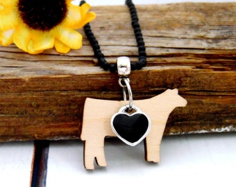 Show Steer Wood Charm Necklace, Cow Jewelry, Handmade Gifts Under 20