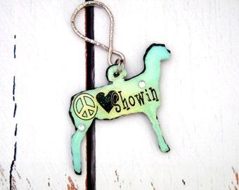 Handmade Show Lamb Keychain, Sheep Bag Charm, Lamb Zipper Pull, Sheep Gifts