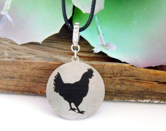 Chicken Silhouette Stainless Steel Necklace, Chicken Gifts, Gift for Mom, Farmhouse Chic