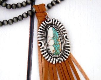 Navajo Style Pearl Leather Tassel Necklace, Turquoise Pendant Necklace, Navajo Pearl Beaded Necklace