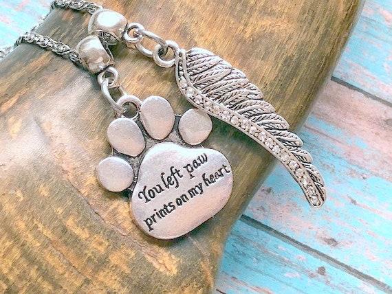 recuerda a tu amigo peludo Collar con colgante de pata de perro en forma de coraz/ón regalo para la p/érdida de mascotas