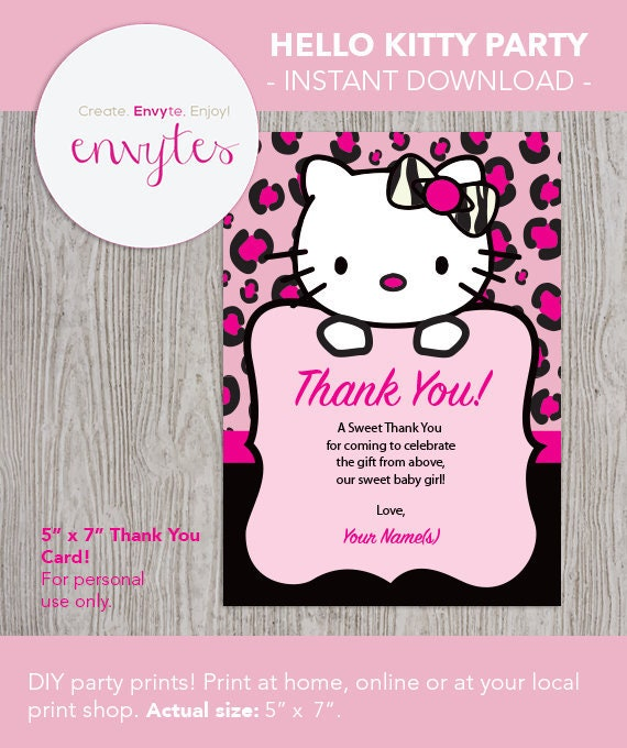 Hello Kitty Baby Shower Thank You Card Digital Download Etsy