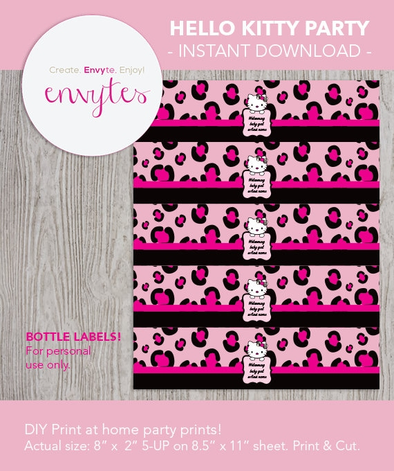 Hello Kitty Baby Shower Water Bottle Labels