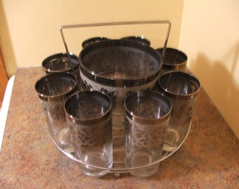 Set of Eight (8) Vintage 1950s Silver Ombre Grape and Leaf HighBall Glasses and Ice Bucket in Caddy