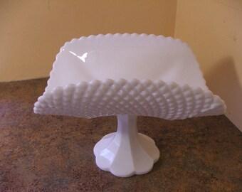 Vintage 1960s LE Smith Milk Glass Geometric Diamond Point Banana Boat / Pedestal Dish