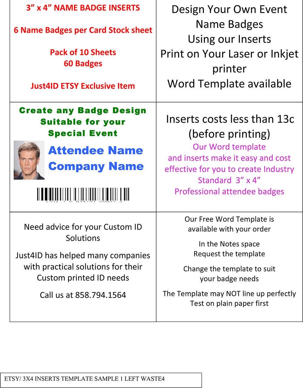Name Badge Inserts For 3 X 4 Badge Holder Etsy