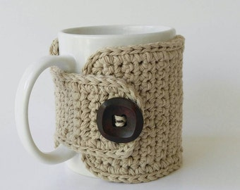 Coffee Cozy Beige Cotton Wooden Button Father's Day