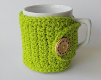 Green Coffee Cozy, Cotton Coffee Mug Cozy, Cup Sleeve, Tea Cozy, Coffee Lovers Gift, Green Coffee Sleeve