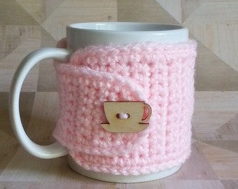 Crochet Cup Cozy, Crochet Mug Cozy, Tea Gift, Coffee Gift, Office Gift, Teacher Gift, Pink Cozy
