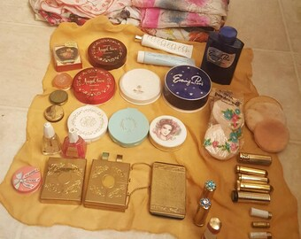 Vintage 1960s Makeup, Powders, Max Factor, Evening in Paris, Lip Stick, Ponds, Vintage Nail Polish, Scarves