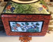 French Inkwell, French Faience Inkwell, Oriental Design Handmade Inkwell, Porcelain 1930s France, office supplies,