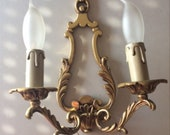 French Brass Sconces, 2 Art Nouveau Design Wall Lights, Paris Shabby Chic Lighting, Movie Prop Lights, U. S. Wireing Compatable,