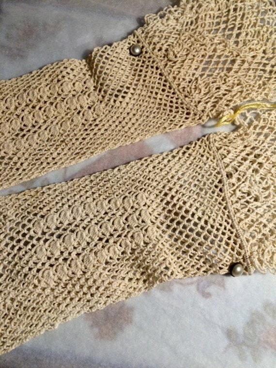 Vintage Gloves Cream French Long Gloves, Small Siz