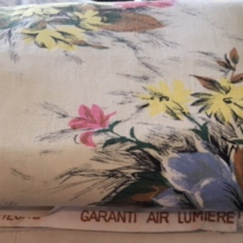 Midcentury French Material French Vintage Fabric 184cm Long x 130cm Wide, Large Floral Curtain Panel