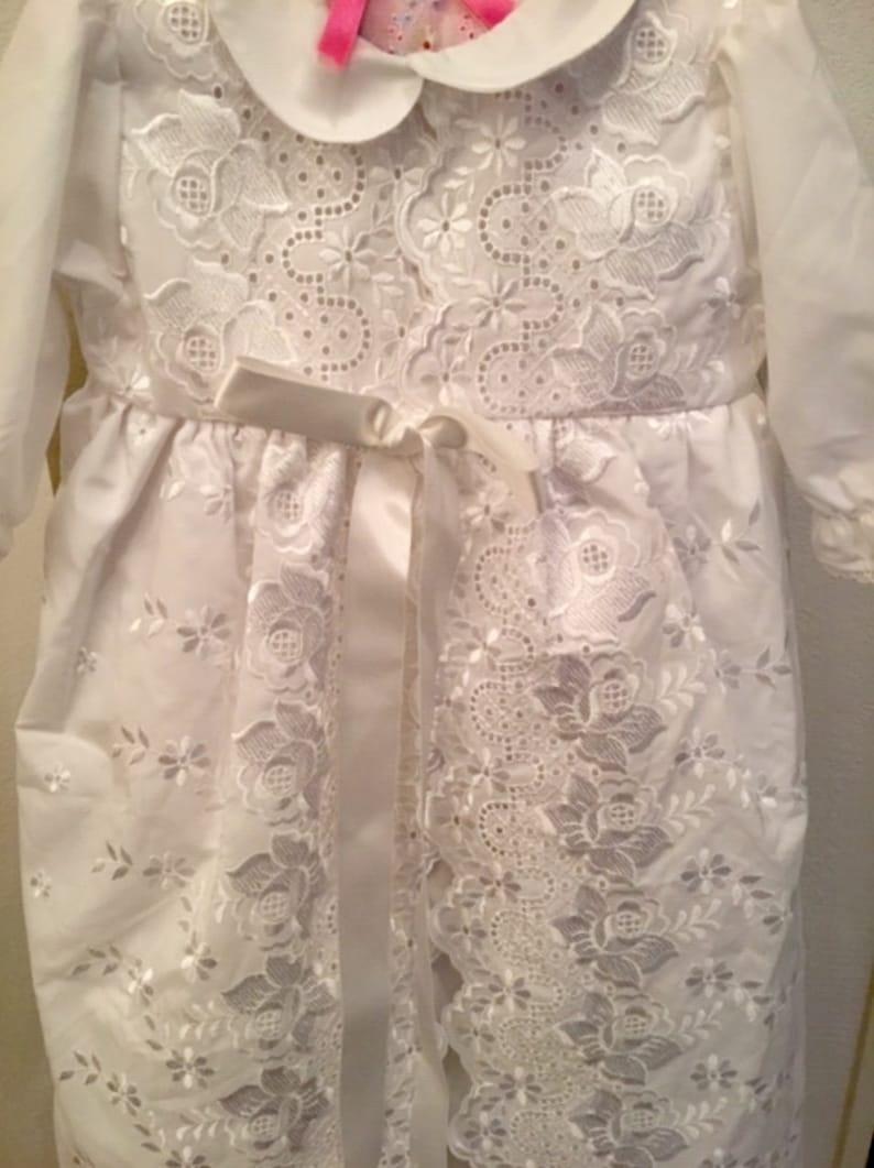 New White Lace Christening Dress Size 1, Babys Christening Dress French Christening Gown