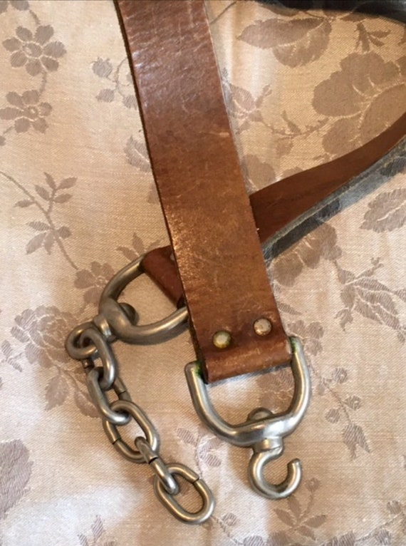Leather Chain Belt, Heavy Chain Leather Belt, Vint