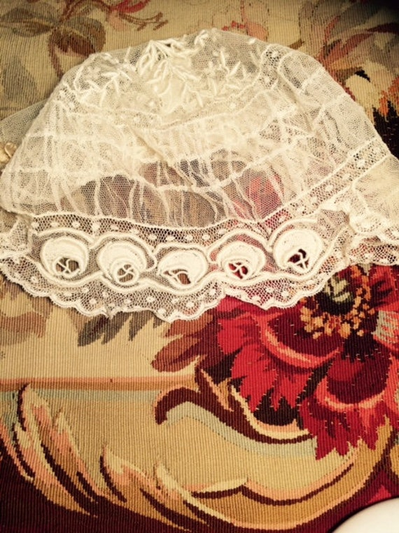 French Flapper Bridal Veil Cap Antique Embroidered