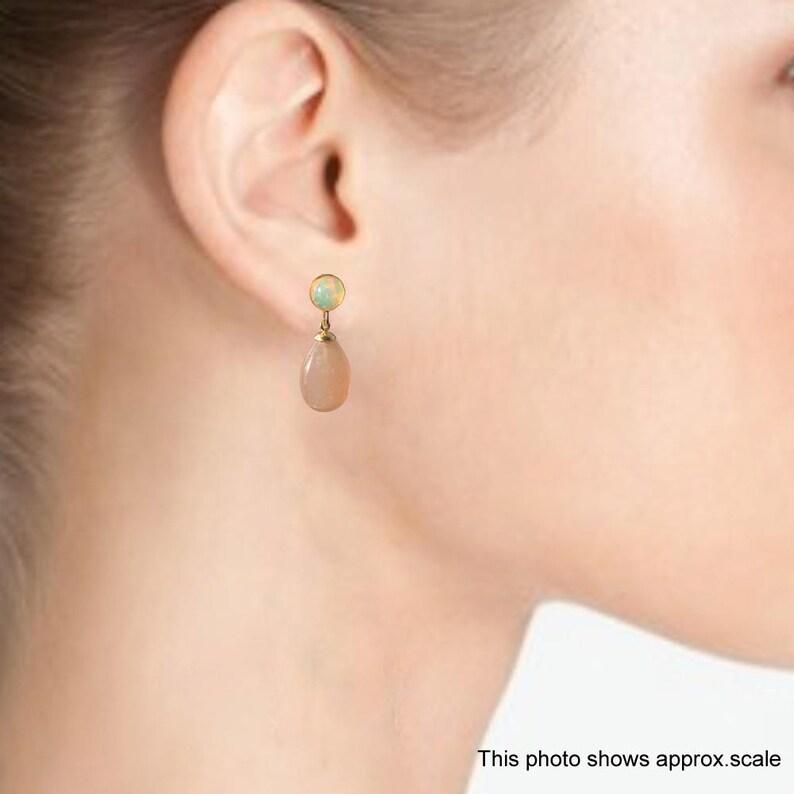 Peach Moonstone and Ethiopian Opal Drop Earrings 1