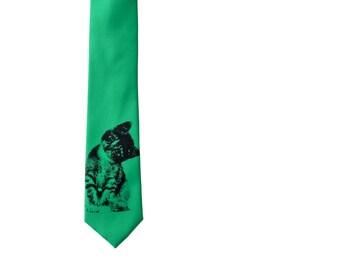 Kitten Full Length Skinny Tie - Green Cat Slim Necktie - Groomsmen Ties - Groomsmen Gifts - Custom Wedding Ties - Wedding Party Gifts