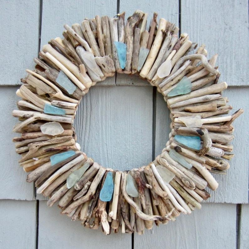 10 Maine Driftwood Wreath with Sea Glass  Beach Decor  image 0