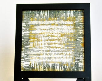 Abstract small art | mini abstract canvas | framed abstract | deskie | small canvas art | framed painting | gray mustard canvas decor