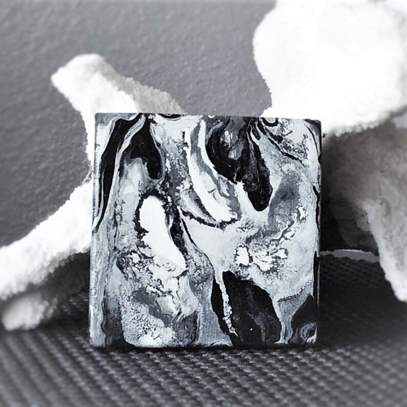 Fluid acrylic  marbling art  black white painting  mini image 0