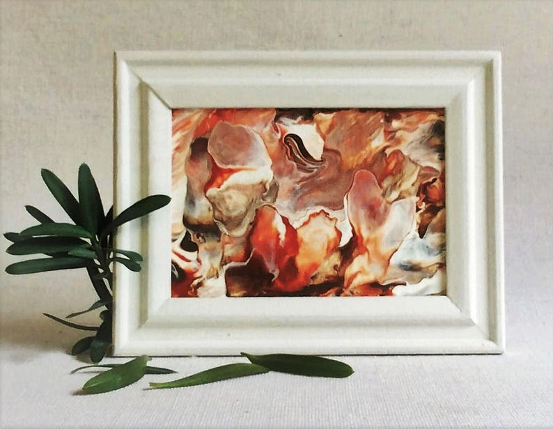Red white painting  fluid canvas  framed abstract  mini image 0