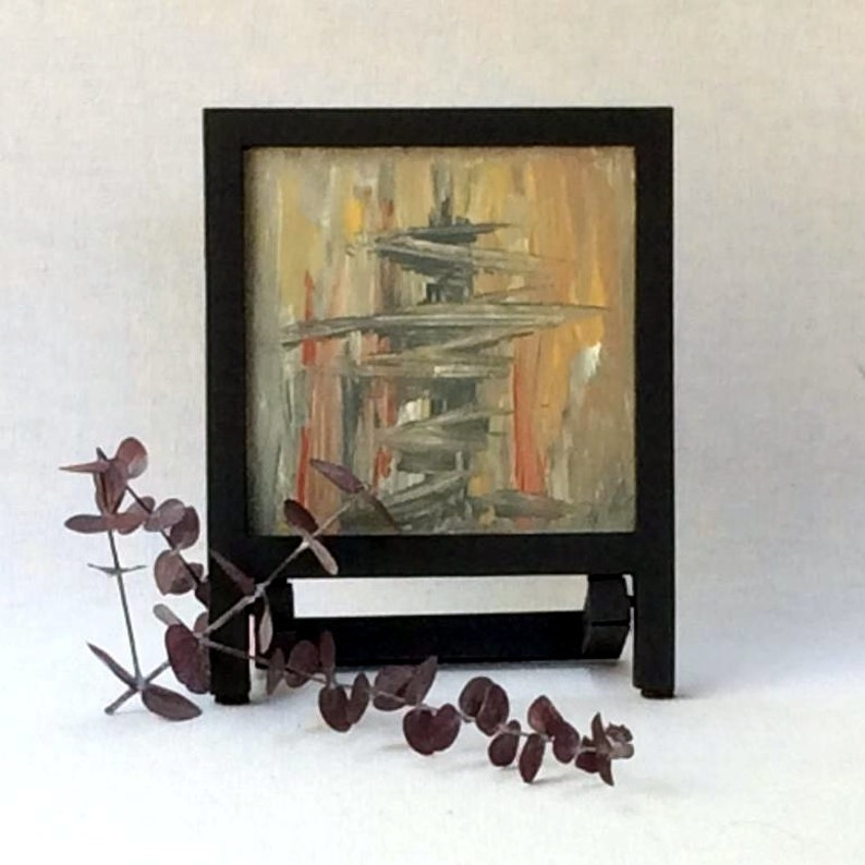 Modern Asian art  small acrylic painting  framed abstract image 0